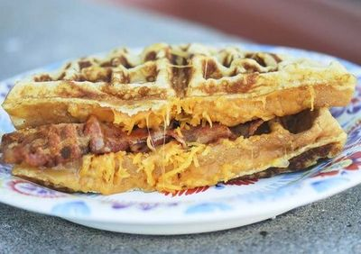 Cheddar and Bacon Cornmeal Waffle Sandwiches 9 WWP+