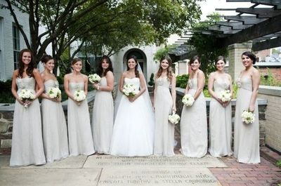 Champagne Amsale bridesmaid dresses } photo by Modern Life P ...