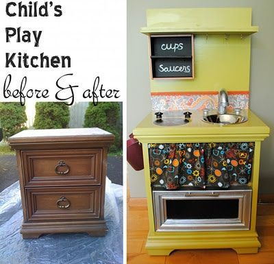 play kitchen reinvented from old furniture for my