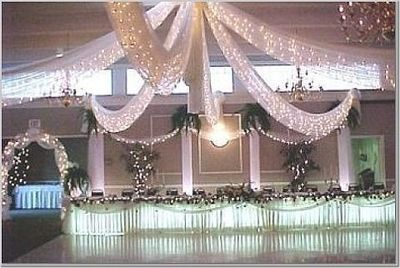 White lights and tulle decorations / wedding ideas - Juxtapost