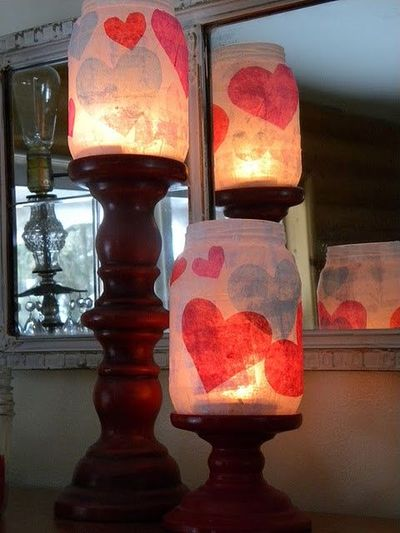 Homemade candle holders valentine ideas juxtapost for Homemade candle holders
