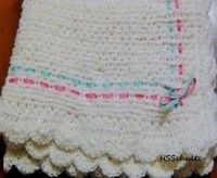 Loom Knit - Baby Blanket done on long loom with ribbon detail