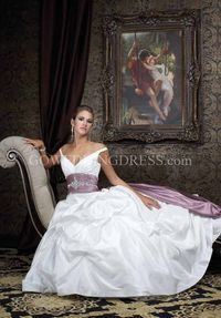 A-Line Off-the-Shoulder Floor Length Attached Taffeta/ Satin Beading Wedding Dress Style 2981