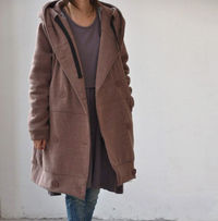 Plush lining double breasted hoodie padded Winter Coat