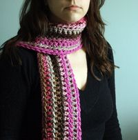 Crochet Striped Scarf Womens Scarf Ladies Scarf Pink and Brown Scarf in Chocolate Raspberry. $40.00, via Etsy.