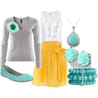 Colors: grey, yellow and aqua