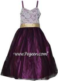 6370ea3564 Pegeen flower girl dress in thistle and pure gold silk with aloncon lace  and purple tulle