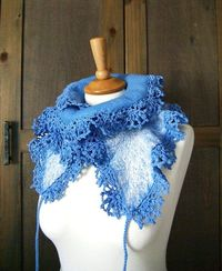Felted ruffled blue scarf with crocheted edges