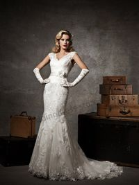 Floral Ivory Lace Cap Sleeve V-neck Mermaid Wedding Dress 1301