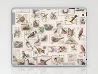 ipad or laptop skin with stamps and birds