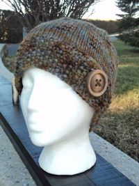 Button Beanie Hand Painted wool Wood Button by WendysWonders127, $30.00