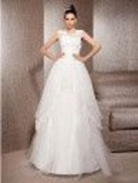 A-line Jewel Neck Floor-length Lace And Organza Wedding Dress - US$ 249.99