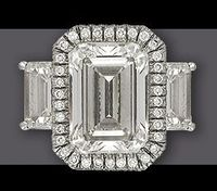 Stunning Platinum Three Stone Ring 5.40 ct G VS 1 Center Two 1 ct Side Stones Solow & Co., Inc.