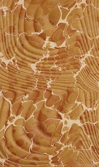 Marbled paper used in bookbinding, Spanish moire style in wood tones