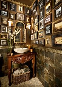 Gallery style pictures in powder room