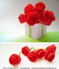 paper roses made from doilies