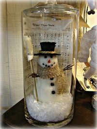 Snowman in a jar--with Christmas sheet music. How adorable.