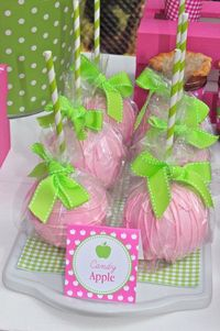 pink candy apples for the next baby girl baby shower