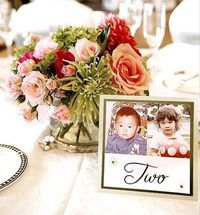 This is an amazing idea!! Table numbers for a wedding using pictures of bride and groom at the age of the table