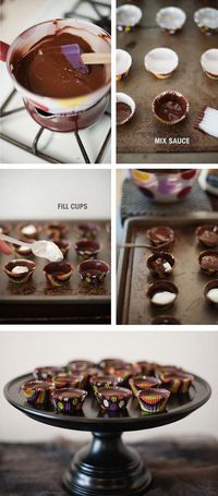 3 step chocolate marshmallow cups