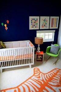 Navy and orange nursery