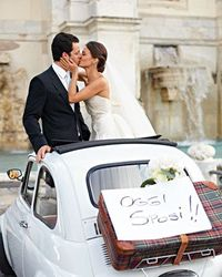 Maria and Jordan rented a Fiat for their Rome nuptials.