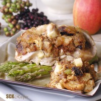 Apple-Fig Stuffed Chicken Breasts: Moist delicious chicken breasts stuffed with apple-fig dressing and glazed with a sweet white wine a...[read more at Food Frenzy]