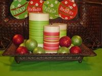 wrap candles with ribbon and add ornaments. cute and cheap!