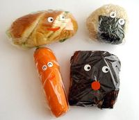 Add eyes and mouth stickers to plastic wrap to make them smile at lunchtime. hehe. Definitely made ME smile!
