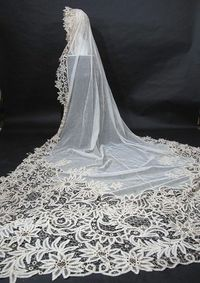 Outstanding Antique Battenberg Lace Cathedral Length Bridal Veil