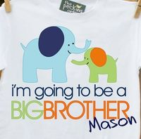 Big brother shirt - Mod funky Elephant big brother to be pregnancy announcement t-shirt. $16.50, via Etsy.
