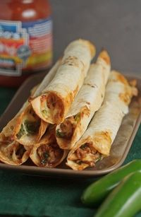 baked chicken and spinach flautas: 180 calories per serving
