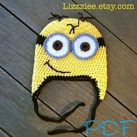 PATTERN Minion hat crochet PDF despicable me movie by lizzziee, $3.99