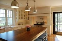Benjamin Moore paint color: White Dove on cabinets.