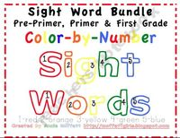 First Grade Sight Word Word List and 41 Color by Number flashcards