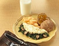 Egg White Omelet with mushrooms and spinach