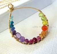 Rainbow necklace Inner circle multicolored gemstone by TatianaG, $75.00