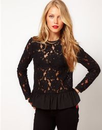 Heavy Lace Top With Peplum
