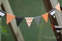 Halloween Chevron Orange and Black Bunting - paper and baker's twine