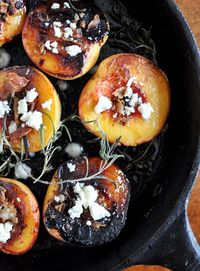 Rosemary, Bacon and Sugar Roasted Peaches (with Blue Cheese, too!)