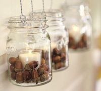 Acorns for fall decorating! This can be adapted for any season -- seashells for summer, jelly beans for spring, cranberries for winter...