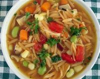 Toasted Orzo Chicken Soup. I adapted this recipe just a little from Rachel Ray, so you know it's super easy. It's super delicious, too!