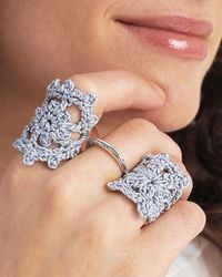 Delicate crochet rings.