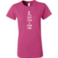 Keep Calm and Think Pink. Show your support with this Think Pink personalized t-shirt. $16.99