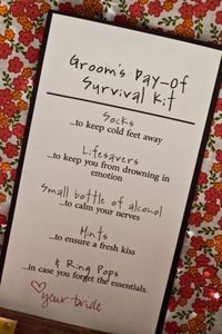 groom's day-of survival kit, PRECIOUS