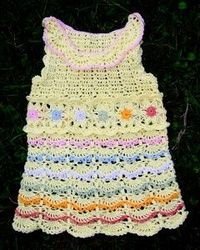 Yellow Dress with Tender Flowers « Knits4Kids free crochet pattern