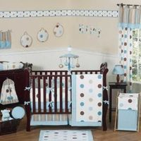 Mod Dots Blue & Chocolate Bedding by JoJo Designs - Baby Crib Bedding - moddots-ch-bu-9
