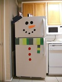 Snowman fridge!...simple idea for christmas