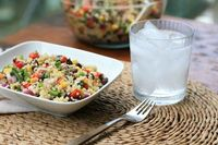 quinoa, black bean and corn salad...maybe with shrimp or salmon