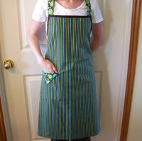 Women's Full Apron in Green Blue and Brown by threadsandthings1, $15.00